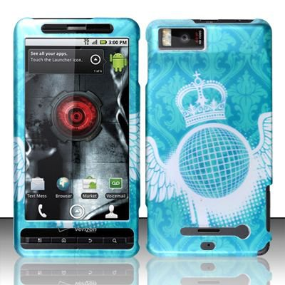 Hard Rubber Feel Design Case for Motorola Droid X MB810 (Verizon) - Royal Crown