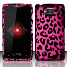 Hard Rubber Feel Design Case for Motorola Droid RAZR HD XT926 (Verizon) - Pink Leopard