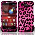 Hard Rubber Feel Design Case for Motorola Droid RAZR M 4G LTE XT907 (Verizon) - Pink Leopard