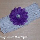 "Crochet Headband 1.5"" with purple flower"
