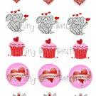 Valentine's Day Bottle Cap Image Sheet -- 4X6 -- Digital