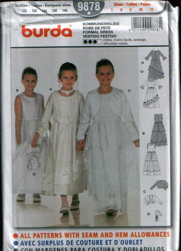 Childern's Formal Dress Pattern Uncut. Sizes: 7, 8, 9, 10, 11 Burda 9878
