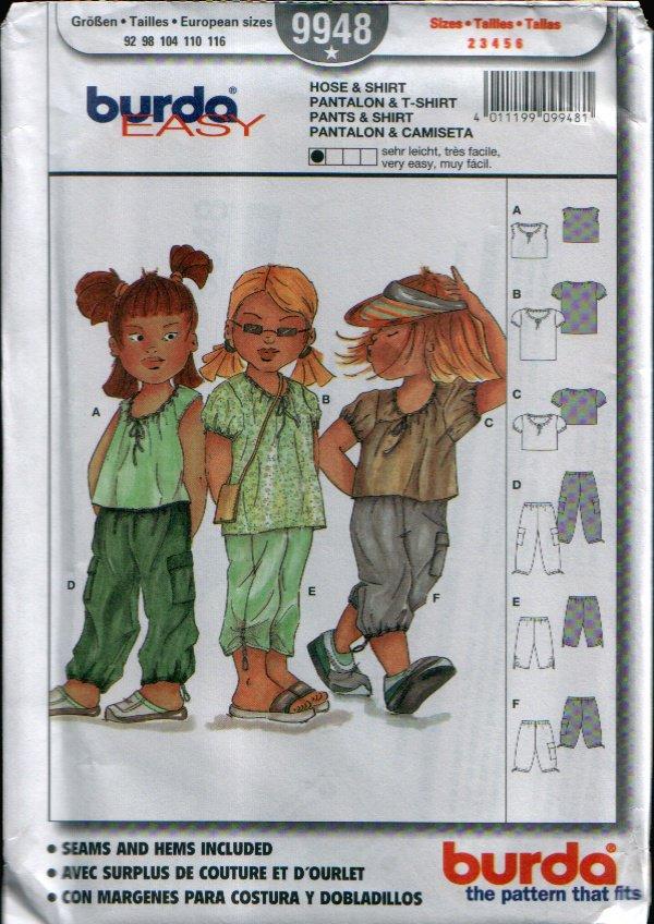 Childern's Pants & Shirt Pattern Uncut. Sizes: 2, 3, 4, 5, 6 Burda 9948