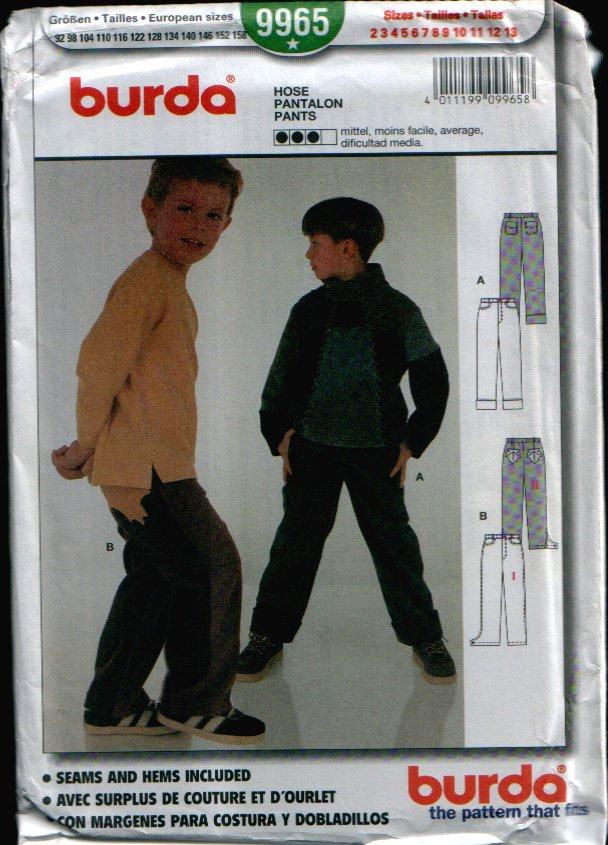 Childern's Pants Uncut. Sizes: 2, 3, 4, 5, 6, 7, 8, 9, 10, 11, 12, 13 Burda 9965
