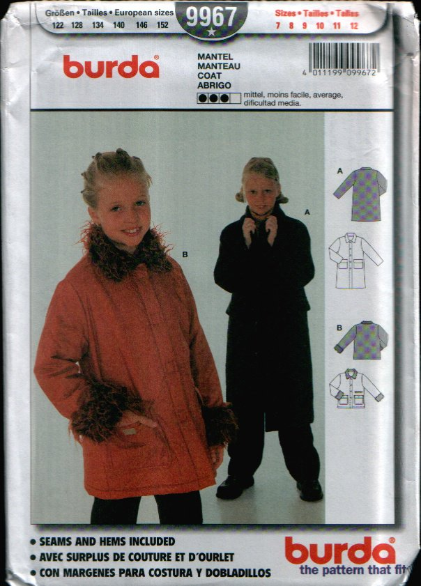 Childern's Coat Pattern Uncut. Sizes: 7, 8, 9, 10, 11, 12 Burda 9967