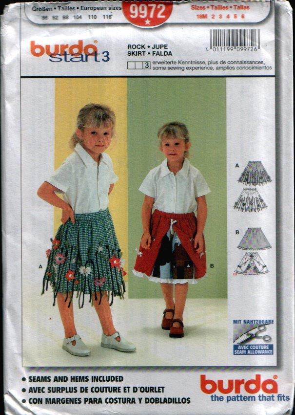 Childern's Skirt Pattern Uncut. Sizes: 18M, 2, 3, 4, 5, 6 Burda 9972