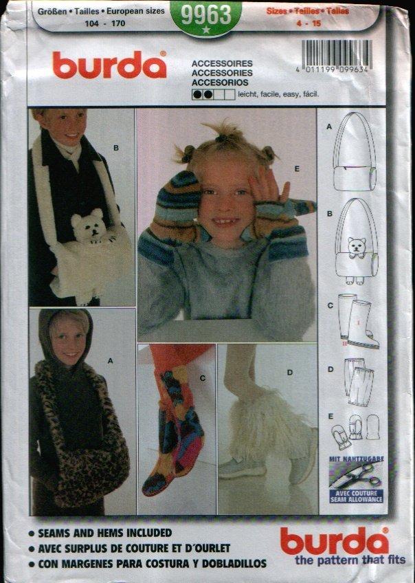 Childern's Accessories Pattern Uncut. Sizes: 4-15 Burda 9963