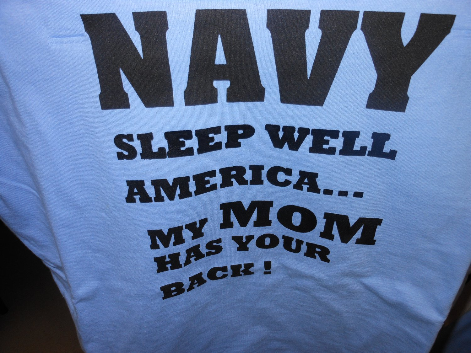 navy sleep well my mom t-shirt xl