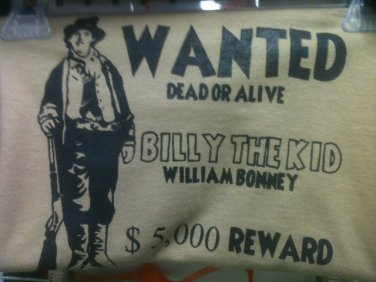 billy the kid wanted t-shirt size small