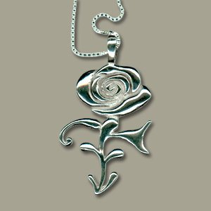 Prince Rose Symbol Necklace - 100% Sterling Silver