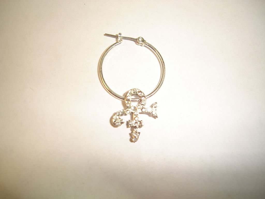 Prince Symbol Hoop Earrings with Diamond Swarovski Crystals - 100% Sterling Silver