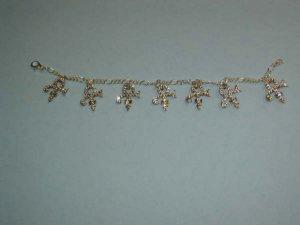 Prince Symbol Charm Bracelet with Diamond Swarovski Crystals - 100% Sterling Silver