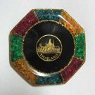 set 6 of mixed color natural gemstone glass saucer with royal palace picture