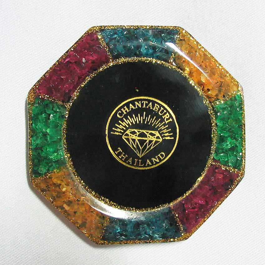 set 6 of mixed color natural gemstone glass saucer with gemstone picture