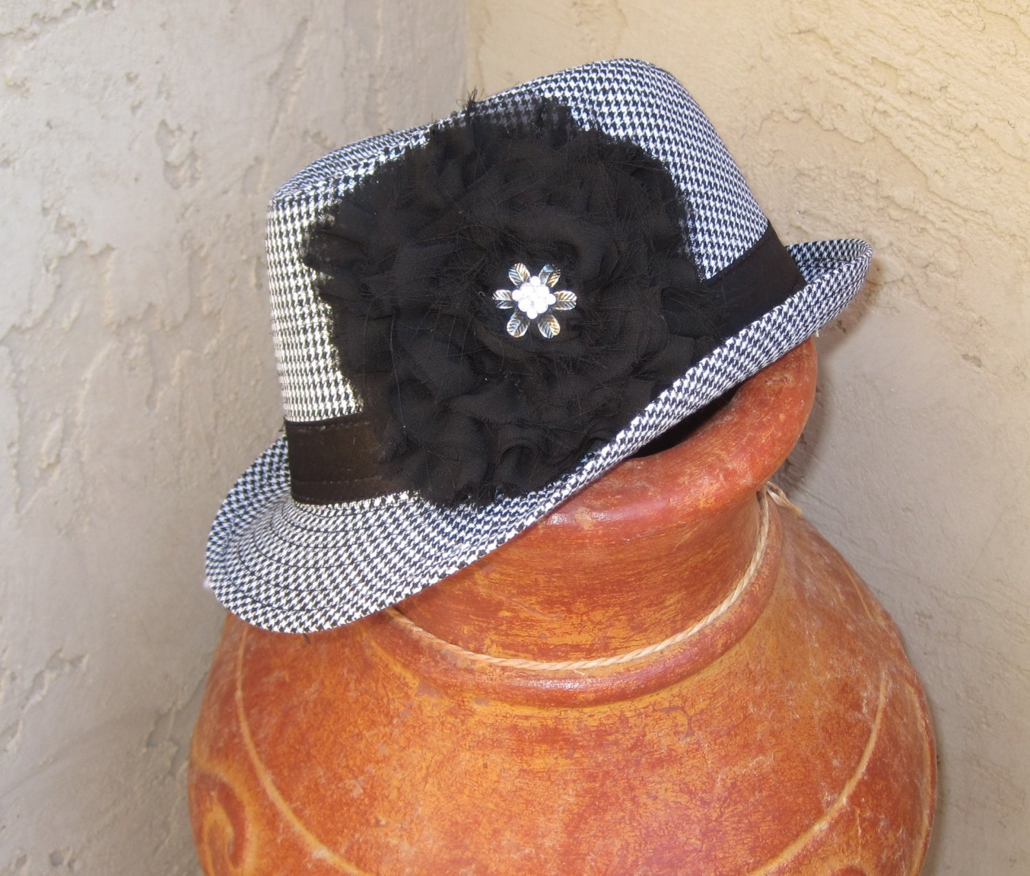 FEDORA HAT WITH CHIFFON FLOWER