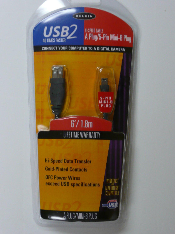 Lot of 5 - Belkin F3U138-06 Pro Series USB A to  5-Pin Mini-B Cable (6 Feet)