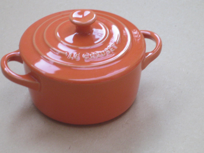 "Le Creuset Stoneware Mini Cocotte round Orange 2"" - 8-ounce"