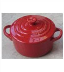 "Le Creuset Stoneware Mini Cocotte round Red Cerise 2"" - 8-ounce NEW"