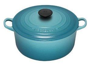 Le Creuset Cast Iron Round Casserole, Blue Teal 2-3/4 Quart