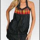 Charcoal Zip Up Halter Dress-Medium