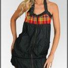 Charcoal Zip Up Halter Dress-Large