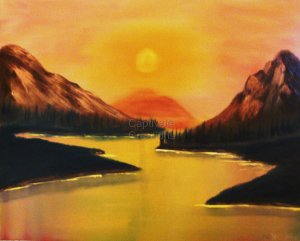 Original Landscape Oil Painting on prestrected canvas
