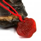 "Natural red agate pendant, hand-carved ""good luck."" Agate necklace"