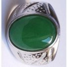 East Miao silver inlaid antique Yuhuan. Green jade ring surface. Successful man of choice.