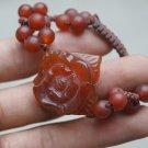 Hand-carved agate flower bracelet. Natural fine red agate bracelet, hand-woven bracelets.