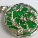 Hand-carved; Tibetan silver inlay green jade pendant colorful ripples; natural pendant
