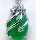 Natural jade pendant; hand-carved; Tibetan Silver Dragon ball pendant set with green;