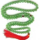 Tibetan Buddhist prayer beads, 8 mm hand-carved green jade beads, 108 beads.