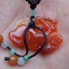 Hand-carved. Red Jade Pi Xiu pendant. Lucky necklace,