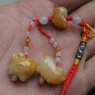 Natural Huang Cuiyu pendant. Rich pig rich topaz pendant.