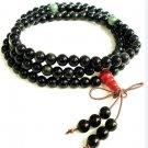 Obsidian bracelet, hand-carved (6 mm), 108 Mala Yoga meditation beads.