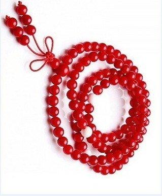 Tibetan Buddhist prayer beads, 6 mm red coral beads, meditation beads 108