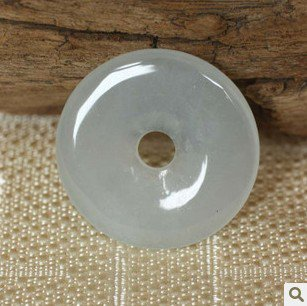 Jade white peace button. Pendant. Good luck pendant.