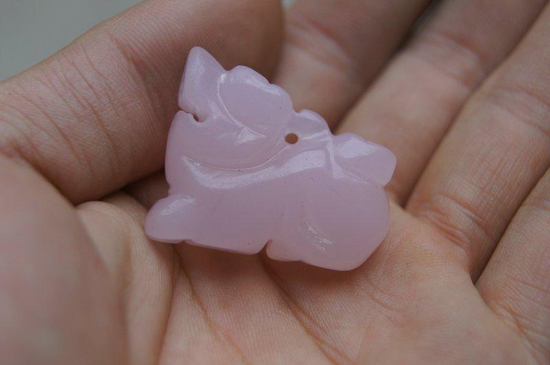 Natural jade pendant. Pendant pink unicorn. Children preferred.