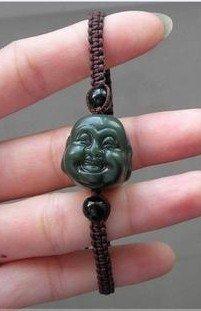 Double-sided black jade Buddha head bracelet. Hand-woven chain, Christmas gifts