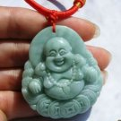 Natural jade pendant, jade pendant light gray crater, a smiling Buddha amulet