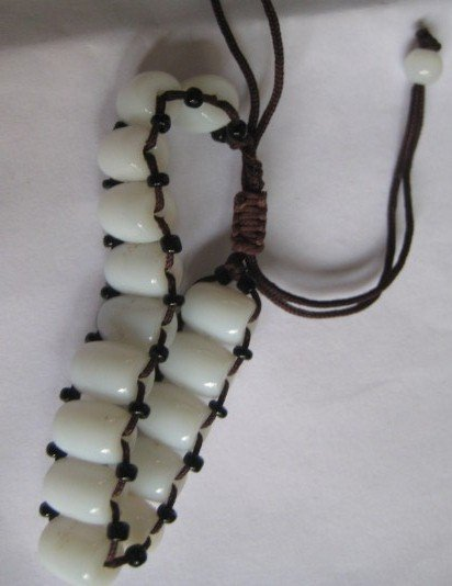 Natural jade. Hand-woven bracelets. White jade beads, neutral