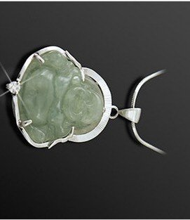 Miao silver pendant inlaid antique light gray jade Buddha amulets, crater, Christmas gifts