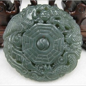 Natural dark green jade pendant. Dragon / Phoenix gossip pendants, Christmas gifts