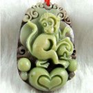 Hand-carved zodiac -  monkey pendant. Purple Jade,
