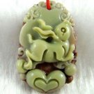 Hand-carved Zodiac - purple jade rabbit pendant. Amulet