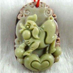 Hand-carved Zodiac - purple jade pig pendant. Amulet