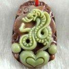 Hand-carved Zodiac - purple jade, snake pendant. Amulet