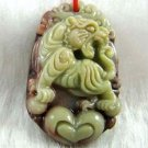 Hand-carved Zodiac - purple jade, tiger pendant. Amulet