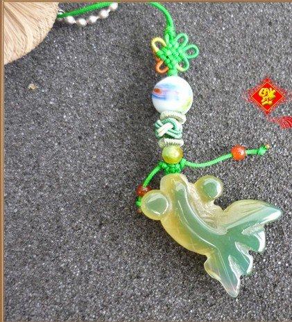 Natural agate pendant phone. Colored agate goldfish pendant