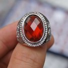 Miao silver inlaid jade rings, red garnet ring. Choice for successful men